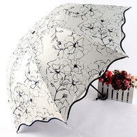 Umbrellas Floral ANTI-UV Foldable Sun Compact Women Female Ladies Lady Windproof Rain Lovely Flower 8K Parasols Umbrella