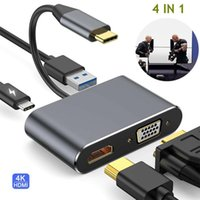 Audio Cables & Connectors 4 In 1 USB C Type To 4K Adapter VGA USB3.0 Video Converter PD 87W Fast Charger Projector TV For Macbook Pro Samsun
