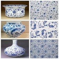 Craft Gereedschap 3 Stks Keramische Kunst Onderglazuur Gekleurde Bloempapier Blauw en Wit Vis Plum Blossom Hoge Temperatuur Decal 54 * 37cm