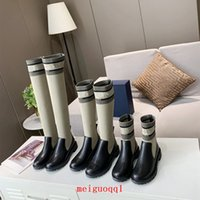 2021 designer ladies boots high-quality leather high-top canvas over-the-knee boot's fashion luxury high heels women's brand casual shoes add frame