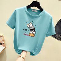 Camiseta impresa verano coreano manga corta moda tendencia deportes ocio gato camisa inferior camisa coincidentes leggings y vestidos