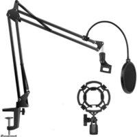 Microfono pesante STAND ESTENSIBILE Sospensione estensibile Braccio a forbice a forma di forbice con supporto acustico Dual Straighted Mic POP Filter