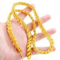 Cadeia tailandesa dos homens pesados de bênção 24k banhado a ouro Chains de colar NJGN056 Moda Presente de casamento homens amarelo ouro placa de chapa de chapa
