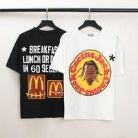 Sommer Flut Travis Scott männer T-Shirts mit der gleichen Puppe um männliche und weibliche Kurzarm-T-Stück Schwarzweiß