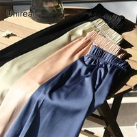 Pantaloni da donna antigoccia satinata ad alta vita da donna Pantaloni casual a vita alta moda sottile pantaloni da donna allentati 211008