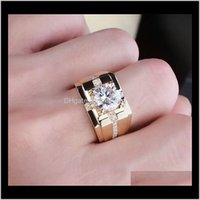 Solitaire Rings Jewelryclassic Carbon High Simulation Mens Diamond Imitation Moissanite Gold Plated Domineering Wedding Ring Wholesale Drop D
