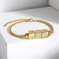 Bracelet For Women Girls 3mm Gold Color ID Dice A-Z Initial Letter CZ Charm Wheat Chain 7inchextension Link HDB297 Link,