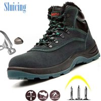 Boots 2021 Men Work Winter Warm Outdoor Steel Toe Cap Anti-smashing Anti-piercing Lace-up Cow Suede Safety Shoes