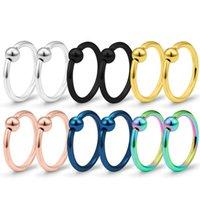 Nose Ring stud Piercing Jewelry body arts fake septum rings nosecuffs Crystal C Clip Lip Non Piercings earrings pin gold Swirls Hoop For Women Men ear