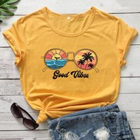 Good Vibes Women's T-Shirt Retro Beach Grasses Graphic Shirts Only Shirt Funny Summer Style Fashion Casual Tees