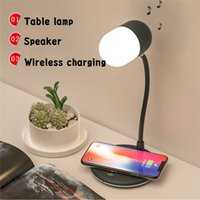 3 in 1 Multi Function Touch Control Bluetooth Speakers Flexible LED Desk Lamp with Wireless Charger USB Charging Table Night Light for Bedroom 5w Phone Chargers L4