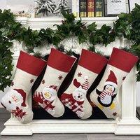 Christmas Stocking Non-woven fabric Old man snowman elk penguin Creative Santa Gift Bag Candy Dcoration Penda MMA200