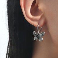 Retro Metal Butterfly Earring Buckle Charm Women Party Gift Animal Black Ear Ring European Hip Hop Dress Business Wind Earrings Jewelry Accessories