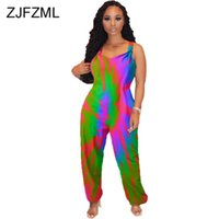Women's Jumpsuits & Rompers Rainbow Tie Dyeing Womens Spaghetti Strap Sleeveless One Piece Bodysuit Summer V Neck Backless Beach Overalls