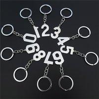 Numéro Keychain Charms numériques Pendentifs 0 1 2 3 4 5 6 7 8 9 Tags de porte-clés en acier inoxydable ré-exposé 10 pièces Numéros assortis 210410