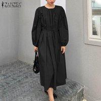 Women Lace-up Baggy Vestidos ZANZEA 2021 Stylish Smocked Solid Sundress Casual Vintage Long Puff Sleeve Dress Tunic Plus Size Dresses