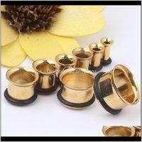 Tunnlar droppe leverans 2021 guld singel flare med o ring pluggar kropp piercing smycken för man kvinna öron mätare avcud