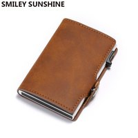Card Holders Rfid Id Holder Men Wallet Leather Business Bank Cover Mini Aluminium Metal Cardholder Protection