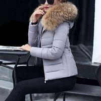 2019 New Autumn Coat Women Winter Jacket Womens Parkas Warm Detachable Fur Collar Hoodies Slim Fit Outwear