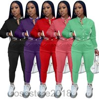 Designer Fall Women Tracksuits Two Piece Set Baseball Uniform Jackets Sweatpants Outfits Sport Joggers Pants Varsity Sweatsuits 5 colors