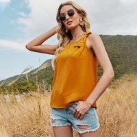 Women's Blouses & Shirts 2021 Summer O Neck Bow Strap Tops For Women Casual Sleeveless Short Solid Color Tank Top Female Sweet Pullovers
