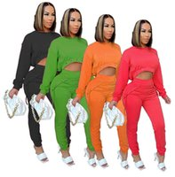women Tracksuits Two-Piece set Spring and Autumn solid color Women's long SleeveTop And pants With Bandage Casual Sports Suit S-XL