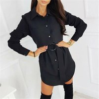 Casual Dresses Dress Shirts Blouse Womens Ladies Long OL Tops Sleeve Work Belted UK