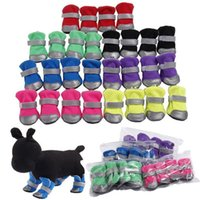 Dog Apparel 4pcs set Ventilate shoes boots with safe reflective stripe soft shoe sole comfortable dog apparel for Teddy Bichon pet supplies{category}