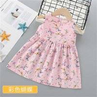 dress Summer Fashion sleeveless Butterfly printing Kids Baby Girls Princess Party Clothes Birthday es