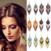 Hoop & Huggie 8 Colors Handmade Beads Tassel Earrings Multicolor Bohemian Style Drop Earring Dangle Fashion Seed Beaded Jewelry