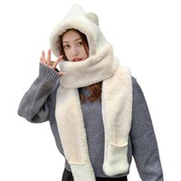 Hats, Scarves & Gloves Sets Women Plush Warm Hooded Scarf Winter Kids 3 In 1 For Hood Hat Glove Set Ladies