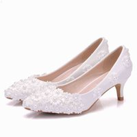 Crystal Queen Bianco Perline Flowers Tacchi alti Scarpe da sposa 5cm Pompe da sposa Donne Party and Evening 210610 7D88
