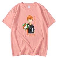 بالإضافة إلى حجم الرجال بلايز جولة الرقبة تي شيرت اليابانية الكرتون haikyuu هيناتا طباعة الملابس قصيرة الأكمام فضفاضة تيز قميص رجل Y0809