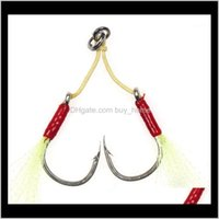 Hooks Fishing Sports & Outdoorsfishing Lure Jigs Barbed Single And Double Assist Hook1 0 2 0 3 0 5 0 7 0 2Pcs Pack Thread Feather High Carbon
