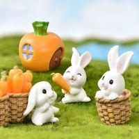 7 adet Beyaz Tavşan Heykelcik Mikro Peyzaj Dekorasyon Seti Minyatür Bunny Süs Peri Bahçe Dollhouse Aksesuar Sevimli Oyuncak Doğum Günü Hediyeleri