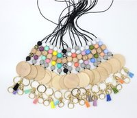 Wholesale personalized silicone bead pencil necklace blank disc tassel pendant chain multicolor optional