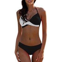 Women's Swimwear 202women Womens Padded Push-up Bra Bikini Set One Piece Patchwork Bathing Suit Swimsuit Biquinis #36