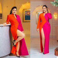 Chic Orange And Fuchsia Sheath Formal Evening Dresses For Women 2021 Color Matching Sexy Side Split V Neck Suit Dress Long Prom Party Gowns Floor Length Custom Made