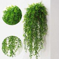Flores decorativas grinaldas plantas artificiais videiras parede pendurar simulação rattan folhas ramos verde planta ivy folha casa decora