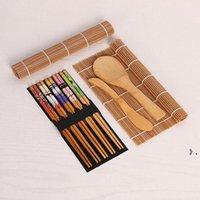 Sushi Making Tools Kit Sushi Bamboo Bamboo tra cui 2 stuoie rotolanti 1 paddle 1 spargitore 5 paia di bacchette BWF9506