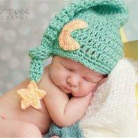 Pasgeboren 0-3 Maanden Baby Knit Photography Lange Staarthoed Zuigelingen Meisje Jongen Foto Prop Haak Gebreide Kostuum Caps met Star Moon Decor Leuke ins Headwear Caps G983503