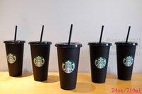 ستاربكس 24 أوقية / 710 ملليلتر البلاستيك القدح بهلوان قابلة لإعادة الاستخدام سوداء الشرب شقة أسفل عمود شكل غطاء كأس القش