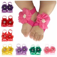 Yundfly Vintage Newborn Chiffon Pearl Flower Barefoot Sandals Baby Elastic Band with Foot Flowers Girls Photo Props 2242 V2