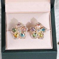 Stud Fresh Jewelry Jewelry Pendientes de flores femeninas Brillante Delicado Multi / Pink Color Girl Fashion Fashion For Women