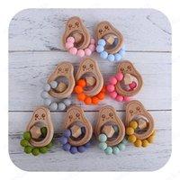 Bebê Teether DIY Silicone De Madeira Abacate Abacate Dos Desenhos Animados De Madeira dentição Anel Chewable Brinquedos Infantil Alimentação Infantil