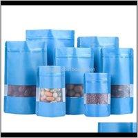 تنظيم التدبير المنزلي الرئيسية حديقة إسقاط التسليم 2021 100 قطعة / الوحدة ماتي الأزرق doypack الألومنيوم احباط البلاستيك حزمة حقيبة مع نافذة mylar sel