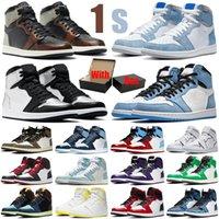 nike air jordan retro Kutu Ile Travis Scott 1 1 S Erkek Basketbol Ayakkabı Hiper Kraliyet Gümüş Toe UNC Obsidiyen Üniversitesi Mavi Erkek Kadın Eğitmenler Spor Sneakers