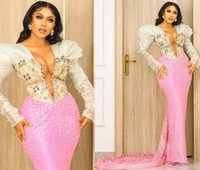 2021 Plus Size Arabic Aso Ebi Pink Luxurious Mermaid Prom Dresses Beaded Lace Crystals Evening Formal Party Second Reception Gowns Dress ZJ224