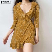 Casual Dresses Summer Party Sexy Dress ZANZEA Women V Neck 3 4 Sleeve Vestidos Ruffles Mini Bohemian Polka Dot Printed Sundress