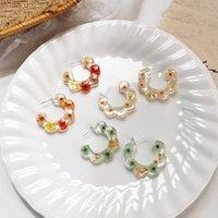 Hoop & Huggie 2021 Korean Flower Acrylic Sweet Vintage Resin Earrings For Women Fashion Jewelry Party Gift Oorbellen Brincos